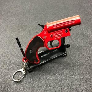 Spiel Spielzeug Key Chian Spielerunknowns Schlachtfeldern PUBG Keychain Flare Gun Red Legierung Anhänger Männer Llaveros Schmuck für Männer