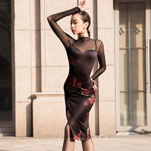 New Women Sexy Latin Dress Women Printing Tango Cha Cha Salsa Rumba Samba Ballroom Practice Wear Long Sleeve Performance Costume