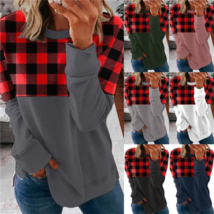 Plus Size Spring Autumn Women Patchwork Plaid Tops T-shirt Long Sleeve Round Necks Fashion Loose Blouse Casual Sports Home Clothes G11401