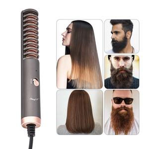 Electric Beard Straightener Flat Iron Comb Straightening Brush Constant Temperature Curling Iron Beard Grooming Hair Styling