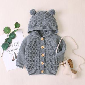 Girls Outerwear Coats 2019 New born Cartoon Bear Cotton Knit Cardigan Kids Baby Boys Knitted Coat Boy Girl Clothes Q1203