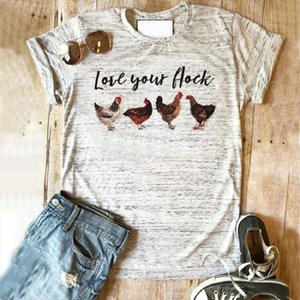 Chicken shirt Love your flock tops farm tshirt graphic tees 2020 women top plus size print tee rose girls harajuku clothing