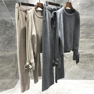 Lana de alta calidad tejido de 2 piezas de 2 piezas de cachemir suéter suelto jersey elástico wiast pantalones traje traje de mujer y201128