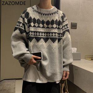 ZAZOMDE Men's 2020 Winter Warm Sweater Korean Streetwear Fashion Pullovers Sweater Autumn Graphic Printed Casual Clothing