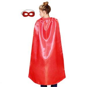 Кейп один слой маски с простой выставкой Party Cosplay сплошной цвет одиночный лап сатин костюм для взрослых