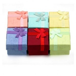 Favor Bag Wholesale Multi colors Jewelry Box, Ring Box, Earrings Box 4*4*3 Packing Gift Box Free Shipping FWF3505