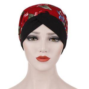summer beanies for women Casual muslim cap hat Flower print India Hat Muslim Ruffle Cancer Chemo Beanie Turban Wrap Cap