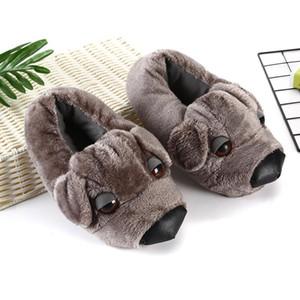 Cachorro gris calzado de hogar tamaño grande 43 zapatillas de animales mullidos adultos zapatos de dormitorio interior de las mujeres para mujer divertidas zapatillas borrosas con perro