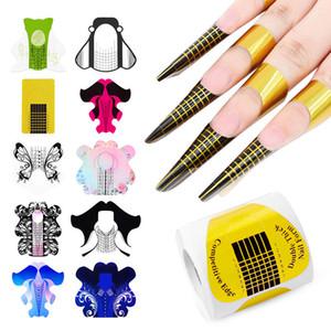 100 pçs / set Nail Art UV Gel Dicas Extension Construtor Formulário Acrílico Francês Nails Dicas Extensão Estêncil Guia Adesivos para Manicure Tools