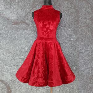 Latin Dance Dress Girl Regulation Dance Suit Children'S Red Velvet Dress Leotard Skirt Dancewear Competition For Girl 1389