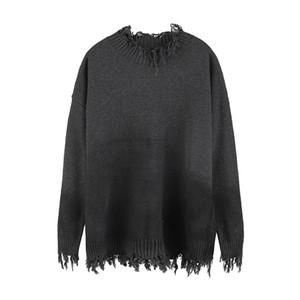 High Street Gradient Half Rollkragenpullover Für Männer und Frauen Unregelmäßige Loch Lose Gestrickte Übergroße Pullover Pullover