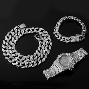 Silver Color Necklace +Watch+Bracelet Hip Hop Miami Curb Cuban Chain Iced Out Paved Rhinestones CZ Bling Rapper For Men Jewelry