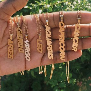 Zodiac Necklaces For Women Constellation Jewelry Aquarius Pisces Aries Taurus Letter Necklaces Pendants Best Friend Gift Collier