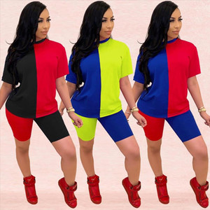 Fashion Women Patchwork Shorts Set Summer T Shirt Female 2 Piece Outfits Streetwear Tracksuit Sweatsuit Women Two Piece Sets