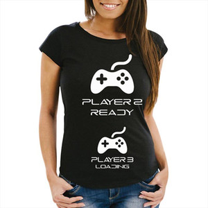 Pregnancy Reveal Couple T Shirts With Game Controllers Player 1 With Player 3 Loading Unisex Short Sleeve Tee Shirt