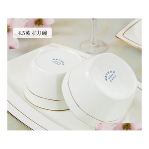60 Chinese Style Bone China Tableware Set Dinnerware Set Gold Inlaid Jade Trace Gold Simplici jllmHl dayupshop