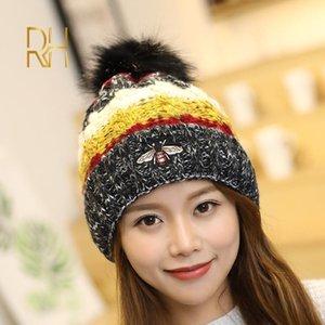 Beanie / Kafatası Kapaklar kadın Kış Beanies Şapka Kalın Örme Beanie Kızlar için Pom Çocuk Tasarımcı Bonnet RH1