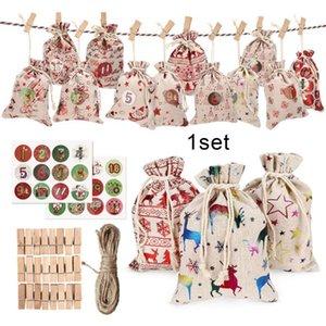 Decorações de Natal 24pcs Sacos de Presente 10x14cm Festival Embalagem de Linho Sacos Xmas Tree House Decor Pingente Saco Corda Clipe Etiquetas