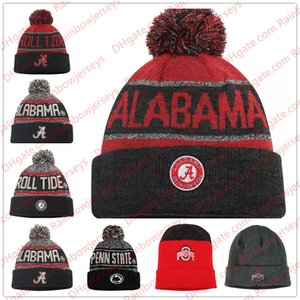 NCAA Örgü Şapka Beanies Alabama Crimson Gelgit Ohio State Buckeyes Penn State Nittany Aslanlar Heathered Charcoal Siyah Gri Kırmızı Kelepçeli Örgü Beany