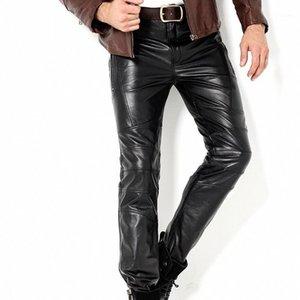 Pantalon pour hommes Véritable Cuir mâle Homme Coat serré Slim Slim Turnproof Mode Mode Full Plus Taille 361