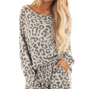 Leopard Print two piece Sets Pajamas Women Tracksuit Pants Sets Women Long Sleepwear Suit Home Women Female Sleepwear Femme #g2