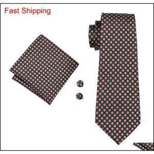 Classic Seta Ties Ties Brown Mens Cravatte Dot Tie Set Tie Hankerchief Gemelli Jacquard Tessuto Meeting Business We Qylykb Beauty888