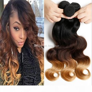 1b 4 27 7a 7a estensioni per capelli ombre 1b 4 27 Ombre Capelli Weaves 3pcs Lotto Blonde Remy Body Wave Virgin Human Hair