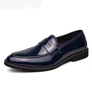 Italian style luxury Men Oxford shoes new men's dress office shoes shadow patent leather luxury fashion Men wedding groom shoes