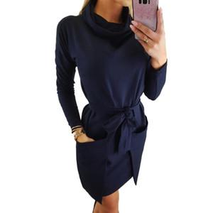 SVOKOR Pile Collar Long Sleeve Big Pocket Dress Belt Irregular Solid Color Women Clothing Temperament Fashion Female Dress