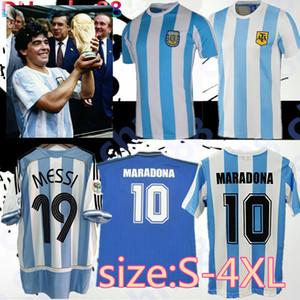 사이즈 S-4XL 최고의 품질 1978 1986 아르헨티나 마라 도노 축구 유니폼 레트로 버전 86 78 Maradona Caniggia 품질 축구 셔츠 Batistuta