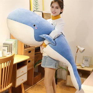 50~120cm Washable Soft Stuffed Whale Toy Ocean Animal Blue Black Underwater Giant Whale Plushie for Children Birthday Gift 201212