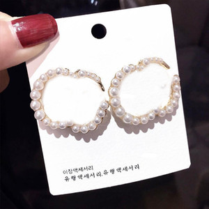 Fashion Pearl Alphabet Earrings Ladies Letters Earrings Women Vintage Studs Earrings Jewelry Accessories Party Anniversary Gift