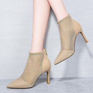 2021 Spring And Summer Boots Sandals Women High Heels Pumps Breathable Mesh Pointed Toe Zipper Ankle Boots