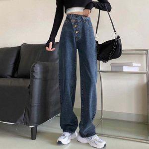 Jeans Mujeres Alta Cintura Flojo Harajuku Abdomen Botones irregulares Ladies Denim Prevalente Creatividad All-Match Ulzzang