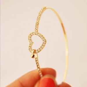 Women' Fashion Romantic Bangles Love Heart Bangles Crystal Personality Statement Jewelry