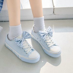 Female students Korean versatile canvas shoes autumn 2021 new Japanese college wind board shoes lace up bowtie gingham casual shoes sky blue