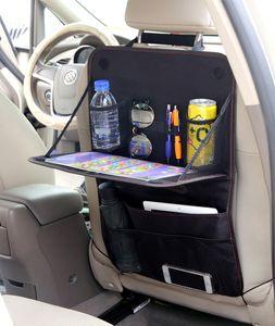 자동차 좌석 주최자, 멀티 포켓 다시 좌석 보호자 킥 매트 Foldable 테이블 트레이가있는 자동차 저장 주최자
