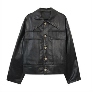 PERHAPS U Women PU Faux Leather White Black Jacket Pocket Turn Down Collar Outwear Button High Street C0194