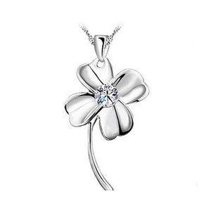18K White Gold Pendant Necklace Gp Purple White Amethyst Crystal Love Charms Four Leaf Clover 925 Silver Necklace Brand New Fdhn2