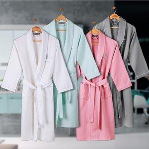 Waffle Cotton Bathrobe Men Summmer Long-sleeve Mens Robe Sweat Evaporate Couples Kimono Bath Robes Hotel SPA Robes Dressing Gown 201125