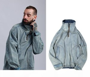 New Men Fashion Jean Coats Turtleneck Oversize Loose Casual Coat Light Blue Vintage Jackets