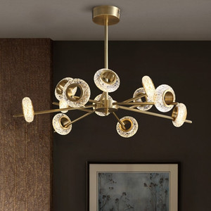 2021 New Design of Copper Lustre Living Room Dining Luxury Crystal Loft Modern Led Luminaire Roof Decoration for Home AIXT