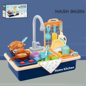 Kids Plastic Simulation Electric Lavavajillas Fregadero Pretend Play Toys Toys con lavado de agua eléctrica Kit de lavabo para niños Regalos 201021