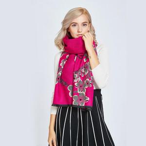 Mujeres Manta de invierno gruesa suave cálida bufanda de lana de cachemira para las mujeres Plum Blossom Shawl Flowers Print Bufandas