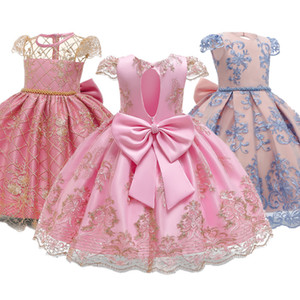 Girls Birthday Party Ball Gown Bridesmaid Formal Wedding Dress For Girls Floral Lace Backless Clothes Princess Frocks Dresses F1202