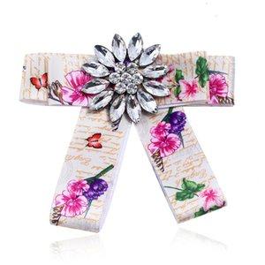 Sunnice Bohemian Impression fleur Faille Broche Bowknot Blanc Broche Broche Pinches Nouveaux Femmes Bijoux Accessoires En gros