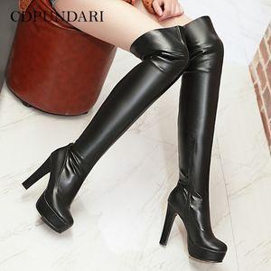 Super High каблуки на коленные сапоги женские платформы бедра высокие сапоги дамы осень зима длинные сапоги обувь черный коричневый белый LJ201130