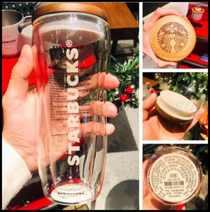 |The latest 10OZ Starbucks glass coffee cup, Starbucks wooden lid style, Starbucks double-layer glass, free shipping
