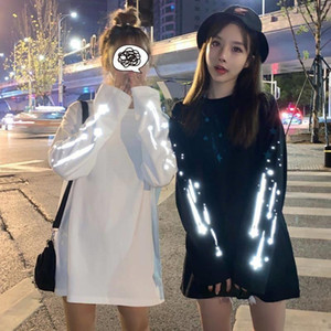 Spring Women Casual Tshirt White Black Streetwear Female Tops Tee Long Sleeve Fashion T Shirt Punk Reflective Hip Hop Clothes