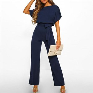 Elegant O Neck Jumpsuits Summer Plus Size Loose Women Bandage Long Overalls High Waist Straight Office Wears